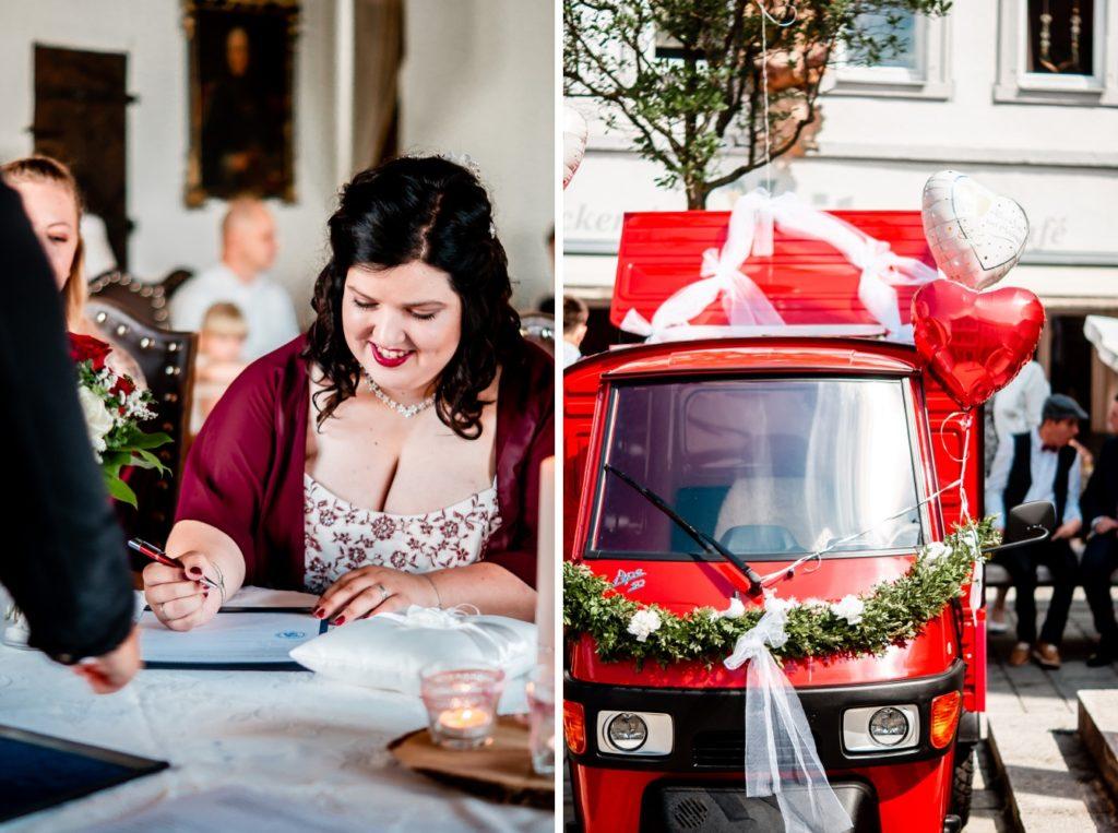 Unterschrift der Hochzeit / Hochzeitsauto